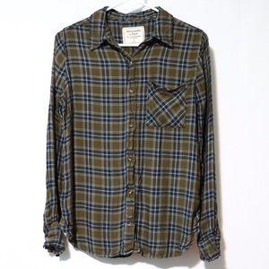 Abercrombie plaid soft flannel green blue Sz small